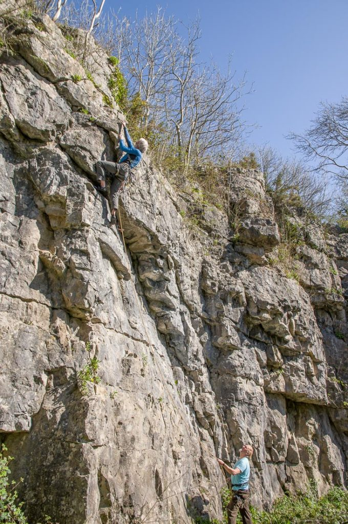 Dave Cronshaw leading The Great Flake VS4c and Les Ainsworth bel